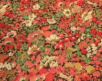 Vintage Mid Century Floral Design Fabric 1950's-1970's Cotton - Cotton Blend - 2+ Yards