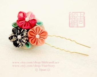 Flower hair pin  Handmade flower hair pin kanzashi flower hair pin