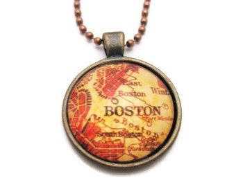 Boston Necklace Vintage Map Necklace Boston Map Necklace Boston Jewelry  Map Jewelry Gifts Under 20