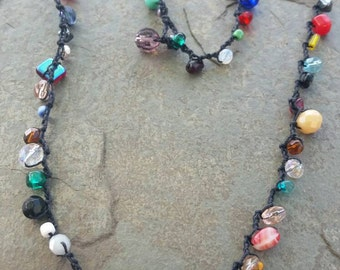 Colorful Czech Glass Bead and Crystal Crochet Necklace/Bracelet.