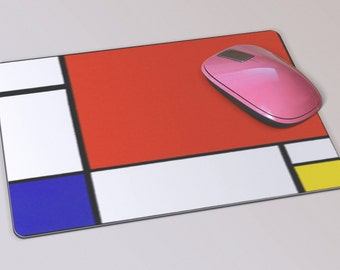 Fabric Mousepad, Mousemat, 5mm Black Rubber Base, 19 x 23 cm - Composition II in Red, Blue and Yellow by Mondrian Mousepad Mousemat