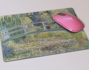 Fabric Mousepad, Mousemat, 5mm Black Rubber Base, 19 x 23 cm - Japanese Bridge Waterlillies By Claude Monet Mousepad Mousemat