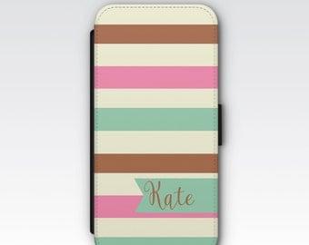 Wallet Case for iPhone 8 Plus, iPhone 8, iPhone 7 Plus, iPhone 7, iPhone 6, iPhone 6s, iPhone 5/5s - Neopolitan Stripes Custom Case