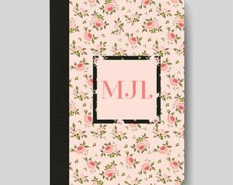 iPad Folio Case, iPad Air Case, iPad Air 2 Case, iPad 1 Case, iPad 2 Case, iPad 3 Case, iPad Mini 1 2 3 4 Case, Pink Floral Monogram Case