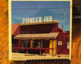 4 x 4 coaster/tile of the Historic Pioneer Inn, Nederland, Colorado