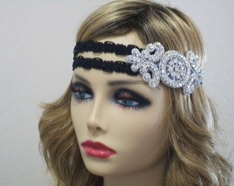 1920s Flapper dress, Great Gatsby headpiece, 1920s headpiece, 1920s headband, Rhinestone headband, 1920s Hair accessory, Vintage inspired