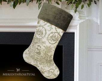 SALE! Toile Christmas Stocking, Green Christmas Stocking, Green Stocking, French Christmas Stocking, French Country Stocking