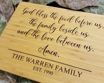 Custom Cutting Board - God Bless Cutting Board - Personalized Cutting Board - Bamboo Cutting Board - Cutting Board - Wedding Gift