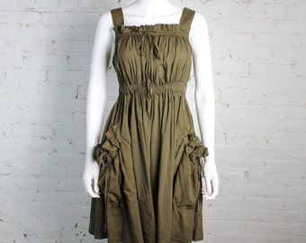 1990s Vivienne Westwood Anglomania Dress olive army green gathered cotton drawstring 38