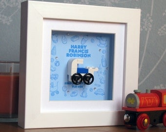 0006B Mini Baby Boy Pram LEGO® Wall Art Frame