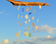 Pastel Sea Glass Wind Chime ~ Rustic Beach Glass Home Decor ~ Handmade Gift for  Couple ~ Gift for Mom, Bestie, Girlfriend, Sister, Aunt