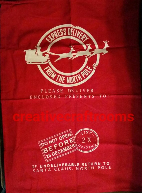 Santa Sack, Personalized Red Santa Sack, Christmas Gift Bag, Santa Sacks, Special delivery toy sack, Present Bag, Santa Bag, Christmas Bag
