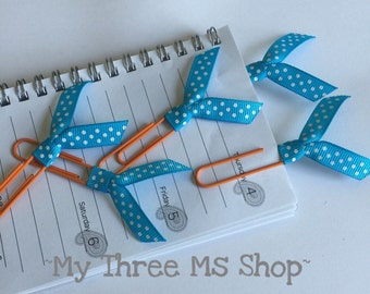 Polka dot Ribbon Bookmarks, Turquoise Orange Planner Clip, Book lover gift, Teacher organizer, Filofax, ribbon Paperclip, dot party favor