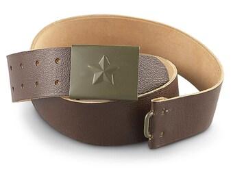 Vintage Unissued Czech army brown leather belt cold war communist Soviet Era