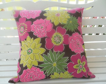 Floral Outdoor Pillow Cover Pink Lime Preppy Patio Porch Cushion Decorative Throw Pillow
