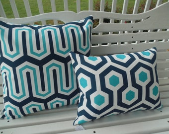 Modern Outdoor Pillow Cover Navy Turquiose Geometric Abstract Patio Porch Accent Decorative Throw Pillow