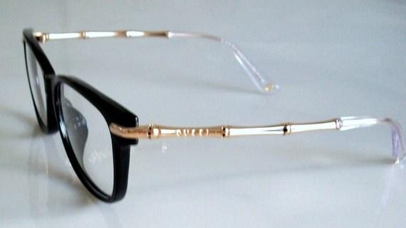 Vintage GUCCI Eyeglasses Black Frame Gold Bamboo Logo Clear