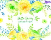 Watercolor Clipart Hello Spring - yellow and green rose flowers and decorative elements for instant download