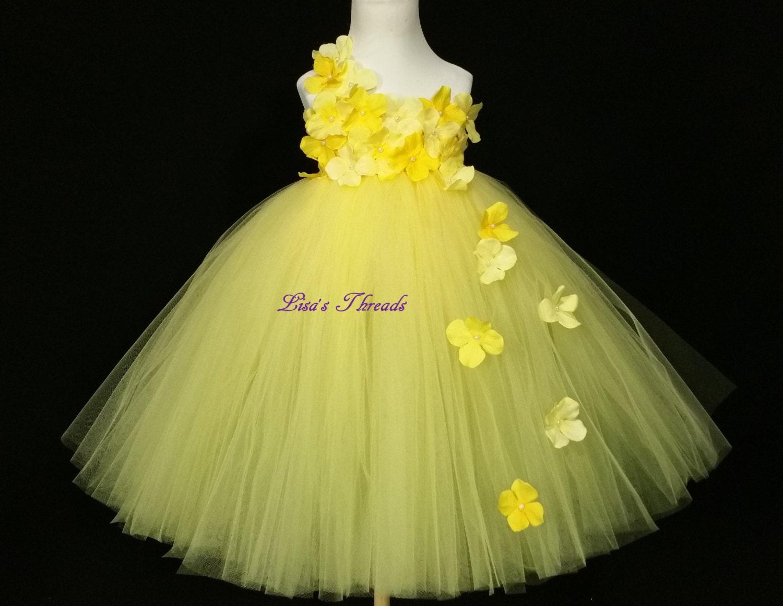 Yellow flower girl dress Junior bridesmaids by LisasThreads