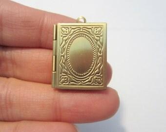 Antique Brass Book Photo Locket Charm Pendants