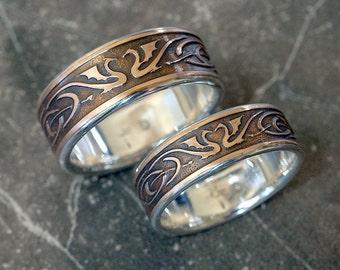 Dragon Wedding Ring Set, Celtic Wedding Bands, Unique Wedding Bands, Mixed  Metal Wedding
