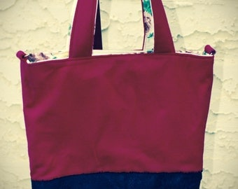 Hot pink and black leather tote/diaper bag