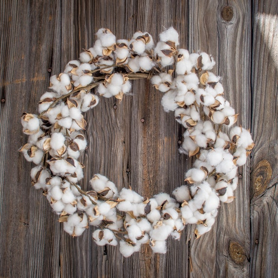 Indoor Wreaths Home Decorating: Items Similar To 22 Inch Faux Cotton Boll Wreath/french