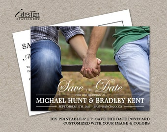 Gay Wedding Photo Save The Date Postcards, Wedding Announcement Save The Date Cards, DIY Printable Double Sided Elegant Save The Dates