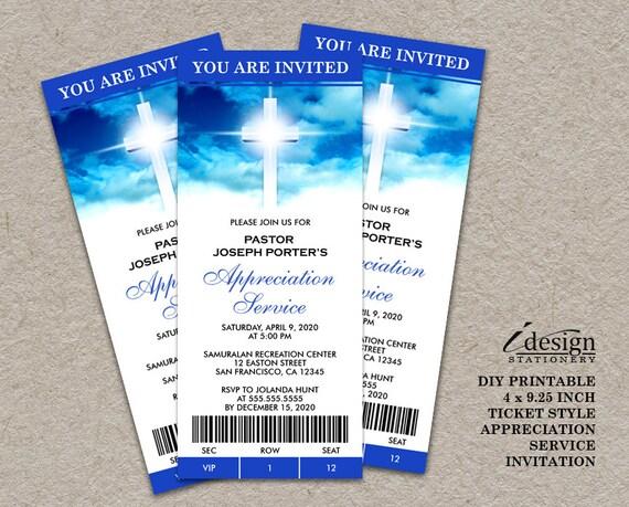 Church Invitations With Cross Printable Pastor Appreciation
