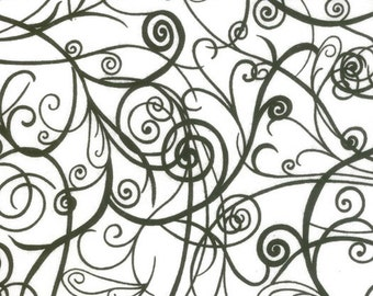 Half Moon Modern Swirls, Black and White