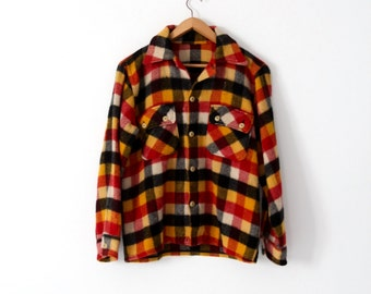 vintage thick wool shirt, plaid shirt jacket