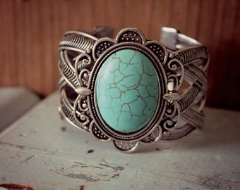 Bohemian Cuff Bracelet, Silver Printed and Hammered Cuff Bracelet, Turquoise Stone, Wide Cuff Bracelet