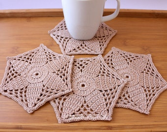 Crochet Home Decor Items, Table Coasters, Crochet Gift For Women, Coasters For Drinks, Handmade Crochet Coasters Set of 4, Ready To Ship