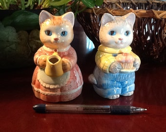Adorable Kittens Creamer And Sugar Boy And Girl Avon Collection