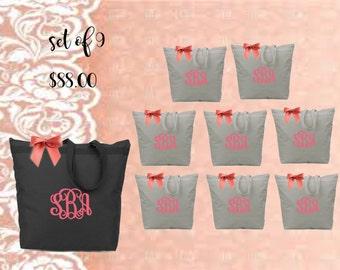 bridal totes, bridal bags, monogrammed totes, monogrammed bags, personalized totes, bridesmaid gift, bridal gifts