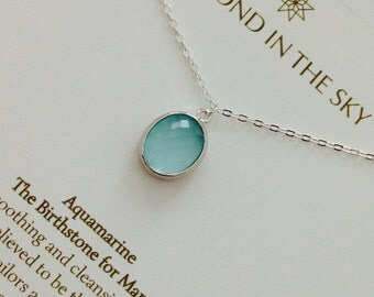 Aquamarine March Birthstone crystal chakra healing Necklace Gift Card