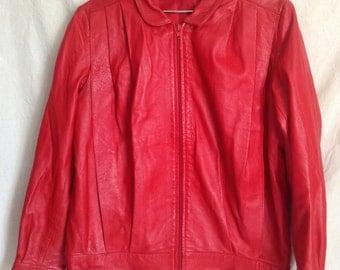 Jacket vintage red leather, T 42 / 44.