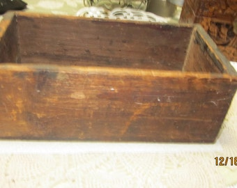 Old Handmade Out of Wood Remnants  Wood box  Great for Workshop,Shelf,Storage Writing Side Not Perfect Tonge/Groove 11 x 6 x4