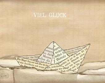 Postcard: paper boat