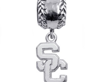 USC Sterling Silver Baseball Charm Bead, Trojans Jewelry, USC-6218