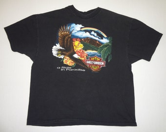 Pacific Harley-Davidson Honolulu A Ride in Paradise T-Shirt Vintage 1990s XXL Motorcycles Hawaii