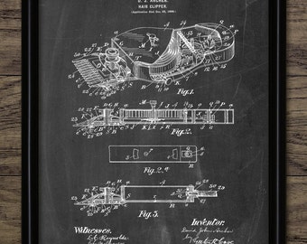 Hair Clipper Patent Print - Hairdresser Art - 1900 Vintage Hair Clipper Design - Hair Styling - Single Print #1461 - INSTANT DOWNLOAD