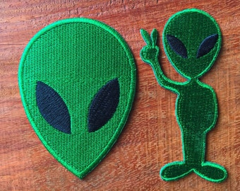2 Model Alien Peace Iron On Patch Sew On Embroidered Badge Bags Jacket
