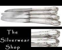 4 Vintage Silver Plated Knives Royal Manor Silverware, Silver Plated Dinner Knife, Floral Silverware Hostess Housewarming Gift  Rogers & Bro