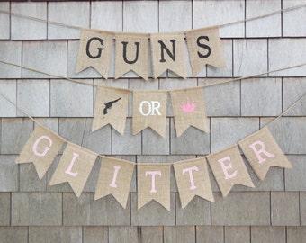 guns or glitter gender reveal guns or glitter banner gender reveal party decor