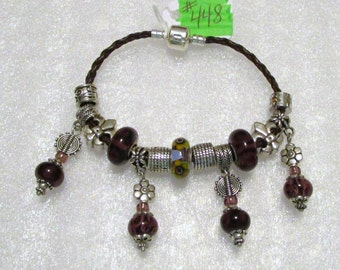 448 - CLEARANCE - Wine and Sunflowers Dangle Bracelet