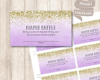 Gold and Purple Ombre Diaper Raffle Ticket, Watercolor Ombre Purple Lavender Baby Shower Printable, INSTANT DOWNLOAD