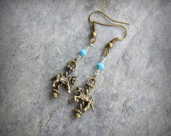 Carousel Horse Earrings,Turquoise Swarovski Crystals, Personalize Your Colored Stone, Antique Bronze Dangle Earrings,  Carousel Lover Gift
