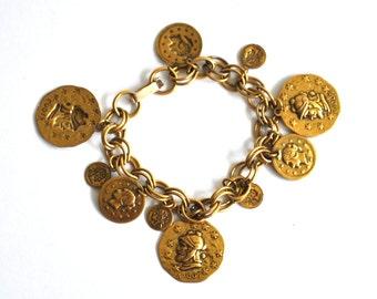 Vintage Faux Roman Coin Charm Bracelet