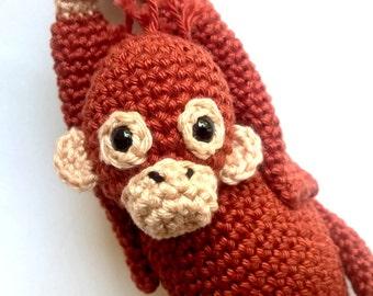 Orangutan stuffed animal, Orangutan crochet plush, monkey stuffed animal, crochet monkey